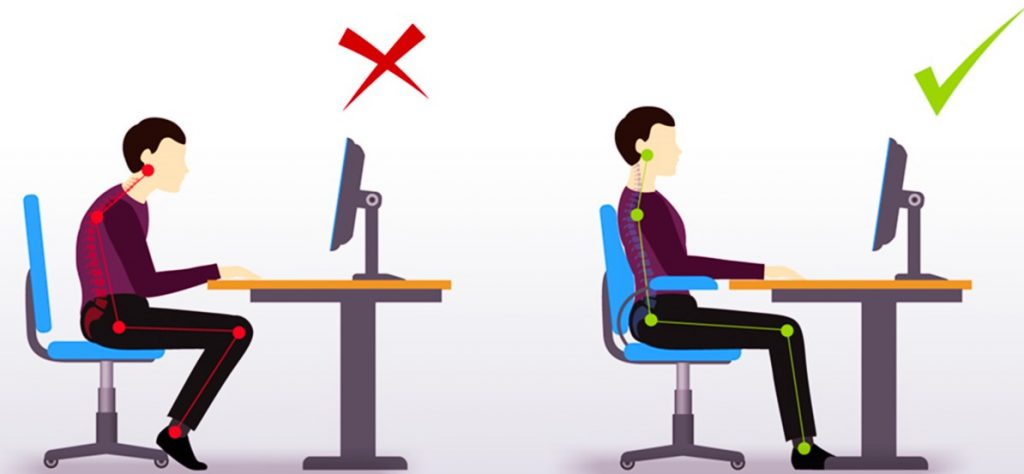a man sitting at a desk in front of a computer showing poor ergonomic posture versus good ergonomic posture