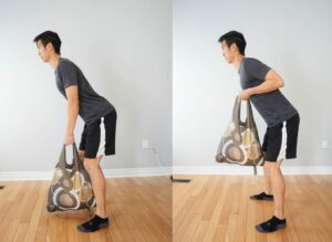 man using a grocery bag to performing a bent over rowing exercise
