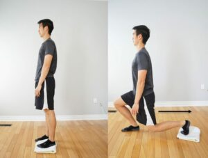 man performing a lunge exercise with rear foot on a towel