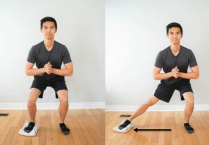 man performing a side-lunge exercise with one foot on a folded towel